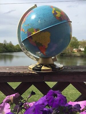 "Vintage 1950's Ohio Art Co. 12"" Tin Metal World Globe John Glenn Orbit Edition"