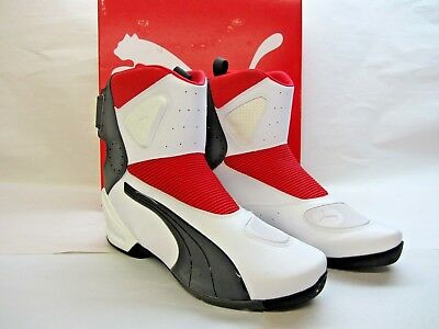 PUMA 450 BOOTS Size 12 US White w Red Motorcycle Boots