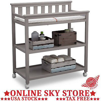 Mobile Baby Changing Table Dresser Gray Canisters Station Wood Nursery  Furniture