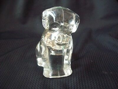 Vintage Clear Glass Dog Figurine Candy Container Candy Holder circa 1950s