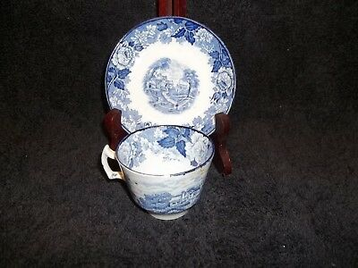 Enoch Woods Flow Blue Transfer Ware English Scenery Demitasse Cup & Saucer 2