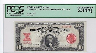 Scarce 1937 Philippines 10 Peso Note Pick 58 Philippine National Bank Pcgs 55Ppq