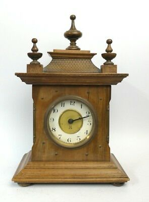 Antique Wooden mantel Clock Hamburg American clock company  V011