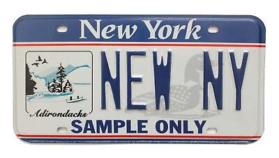 New York Adirondacks Sample License Plate, Embossed Optional Specialty Graphics