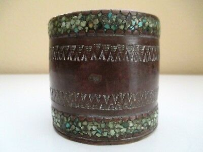 Antique Chinese/Japanese/Asian Heavy Bronze Jar Abalone Trim  18th Century Small