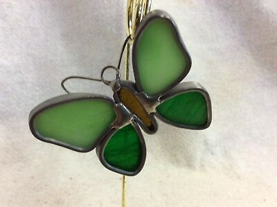 Vintage Stained Glass Sun Catcher Handmade Soldered 3x3.25 green butterfly