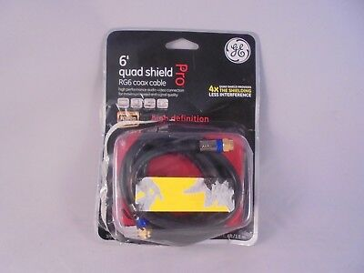 GE Quad Shield RG6 Coax Cable 6' Video High Speed HD TV Coaxial Digital 37665