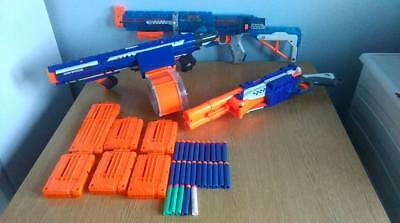 Nerf Gun Lot 10 Guns 14 magazines , Drum mag clips Rayven strongarm darttag  ect