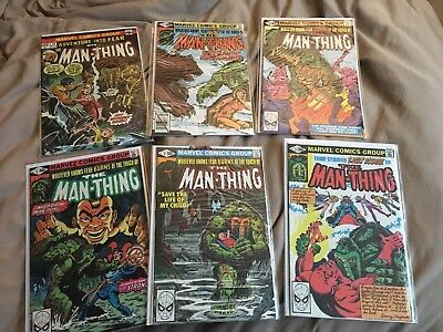 Nice lot of 6 early Bronze age Marvel Man-Thing comics. Key First appearances ..