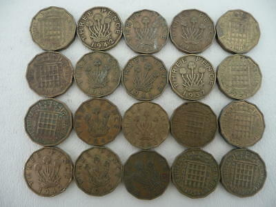 Lot of 20 British Brass Three Pence Coins of Great Britain