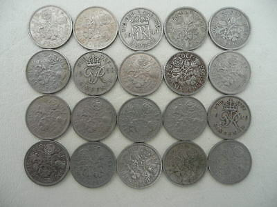 Lot of 20 British Six Pence Coins of Great Britain - wedding coins