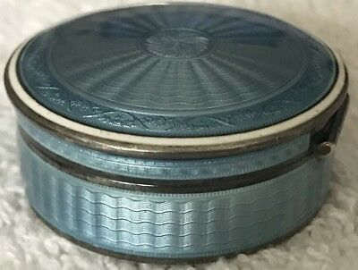 Superb Enameled Guilloche 935 Sterling Silver Swiss Vtg Snuff Pill Patch Box