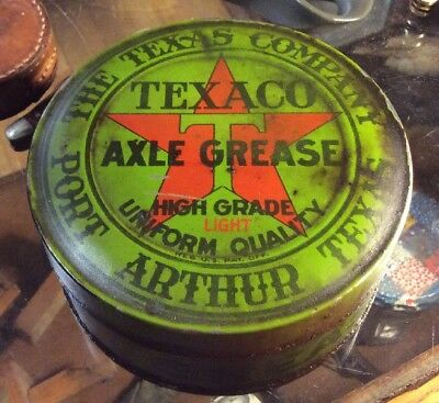 Vintage Texaco Axle Grease Motor Oil Can Tin Advertising Service Station Full