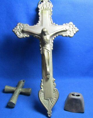 Vintage Brass Large & Small Christian Crosses and Bell Lot Of 3
