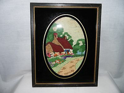 Antique Framed Sampler Crewel Embroidery Cottage Along River Approx19th Century