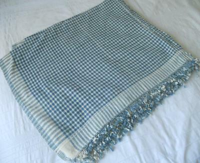 Vintage European Provincial Hand Woven Blue & White Coverlet Blanket Throw