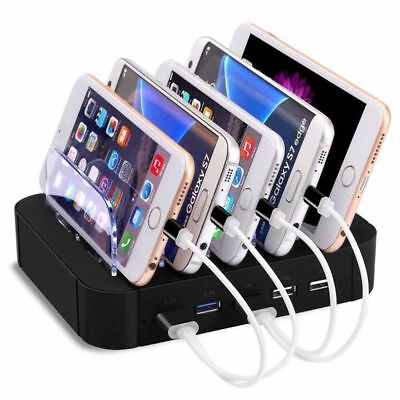 5 Ports USB Charging Station Dock Stand Desktop Multi Charger for Phone Tablet