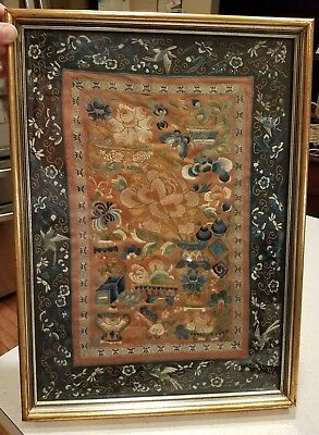 Vintage Framed Chinese Japanese Asian Silk Textile Embroidery Tapestry 20 X 14