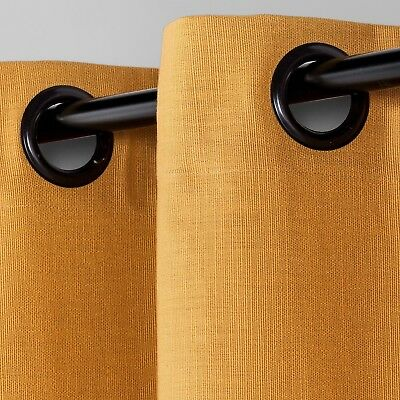 Natural Solid Curtain Panel -Brass/Mustard-1 Panel-84.0 inches (L) x 54.0 inches
