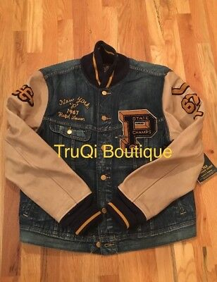 586d878e POLO RALPH LAUREN Limited Letterman Varsity Denim Jacket Rl Tigers P Wing  Cp 93