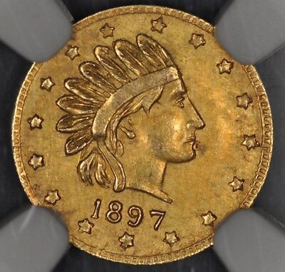 1897 Ngc Ms62 Alaska Gold Pinch Head Right, Round, Hart's Coins Of The West