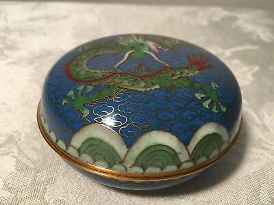 Chinese Dragon Cloisonne Round Container (Old Vintage China Green Blue Brass Box