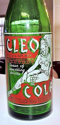 "Rare Straight Side  Cleo Cola Green A.c.l.bottle  ""  St. Louis, Mo.  """