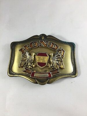 Vintage 1978 Honda Motorcycle Double Eagle Belt Buckle Gold Wing Made by AHM