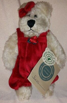 """Boyds Bear Investment Collection Erin 6"""" Plush Teddy Red Overalls! Brown! Bow!"""