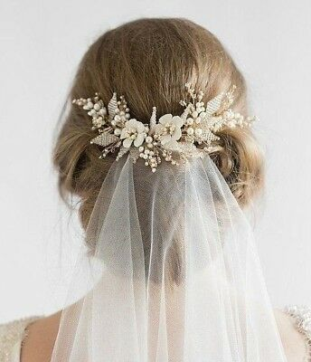Bridal hair headband clear crystal pearl handmade Headpiece Wedding Accessory