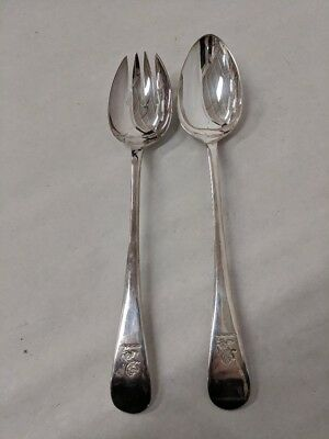 Lot Of 2 Antique Cooper Bros & Sons Epns Large Serving Spoons Sheffield No Mono