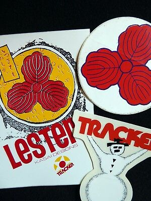 Tracker Trucks skateboarding stickers, Lester Kasai, Tracker Snowman