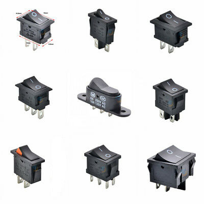 All Black On/Off Rectangle Rocker Switch 3A/6A/15A/16A 250V AC Various sizes Pcs