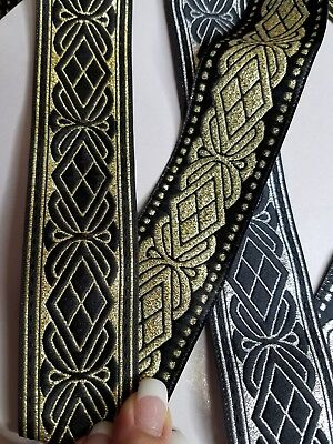 Very metallic medieval Fabric Trim 1 Inch Wide sold by the yard