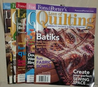 Fons & Porters Love of Quilting 5 Issues Magazine Sewing Quilt 2003-2007!