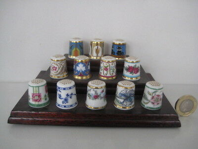 Set Of 12 Minton Fine Bone China Sewing Thimbles Bicentenary Collection Stand