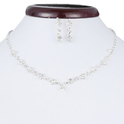 Casual Bridesmaid Crystal Necklace Earrings Set Wedding Bridal Jewellery new'