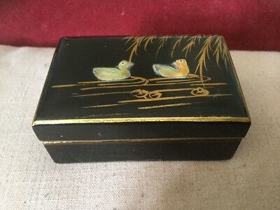 Oriental Lacquered Trinket Box Poss Early 20th Century Mother of Pearl Ducks
