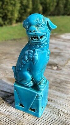 Vintage Antique Chinese Oriental Green Blue Foo Dog Figurine