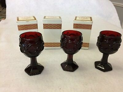 VINTAGE SET OF 6 Mini Goblet Red Ruby Cape Cod Avon Glasses Set 3 are new old st