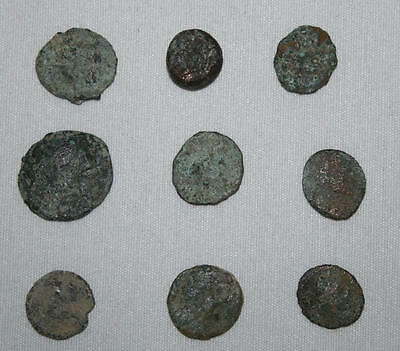Lot Of 9 Roman Coins - See Description And Photos