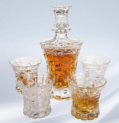 Regal Whiskey Decanter Set with 4 Scotch Glasses by Angels' Cut. Hand...