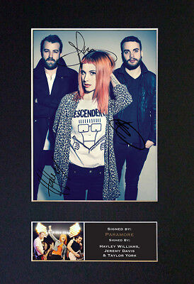 PARAMORE Signed Mounted Autograph Photo Prints A4 338