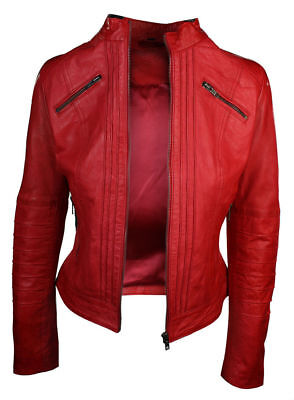 New Women Ladies Biker Brown Genuine Real Leather Slim Fit Jacket