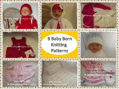 Honeydropdesigns Set  * 8 PAPER KNITTING PATTERNS * For Baby Born/17 Inch Dolls