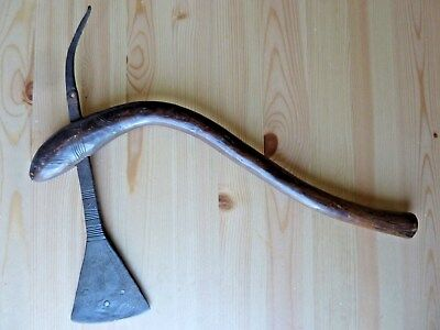 Antique African Congolese/Congo ceremonial war/battle axe, unusual curved handle