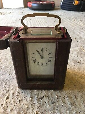 Antique Brass Carriage Clock c1900 With Curved Glass Sides Original Key And Case