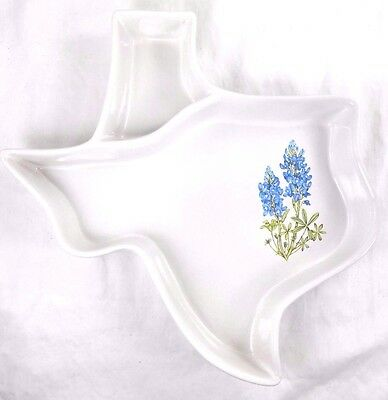 Vintage LARGE Frankoma Texas Shaped Divided Snack Bowl w /Bluebonnets, Ada Clay