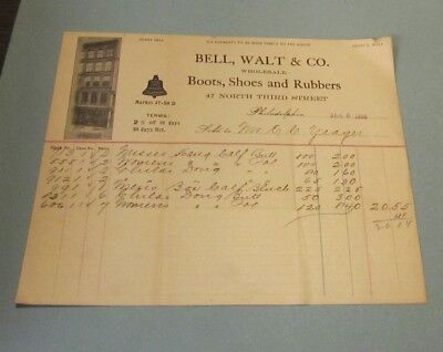 1904 Bell, Walt & Co. Boots Shoes and Rubbers Billhead Philadelphia Pennsylvania