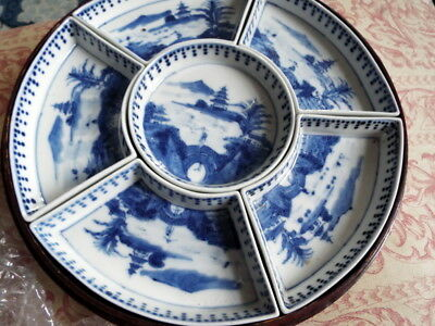 19th Century Chinese Quing Dynasty Blue & White hors d'oevures dishes  boxed